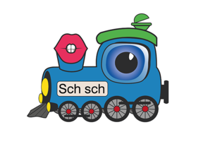 Screenshot: Bunte Lokomotive Schorschi Schnaufi in der Sprachforscher-App von LIFEtool